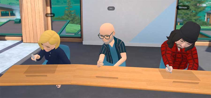 VR avatars sitting at a conference table in Horizon Workrooms